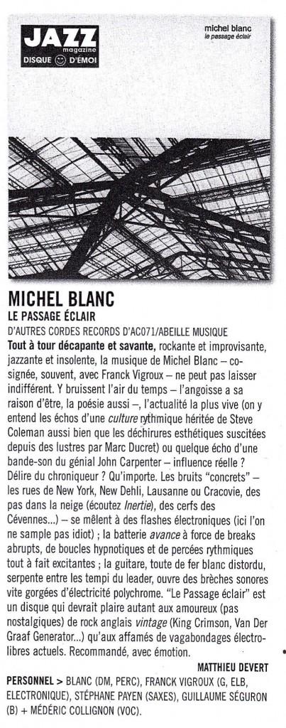 """""""Le passage éclair"""" - Jazz magazine - Disque d'émoi"""