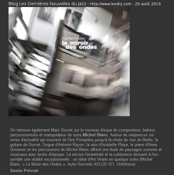 Le Miroir Des Ondes - Blog Les Dernières Nouvelles du Jazz